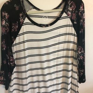 Maurice's plus size 1 floral sleeve stripe